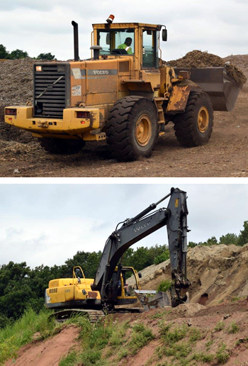Two photos of machinery at our landfill. The top a backhoe loader. The bottom a materials handler.