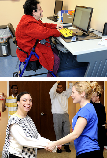Top: A woman participating in a computer activity at our Burlington CAC. Bottom: Consumers dance at a Zumba class