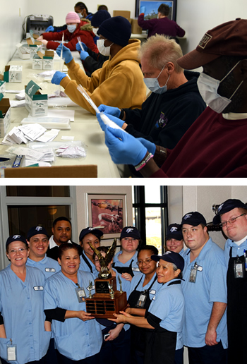 The top photo, several benchwork consumers working on packaging DNA test kits. The bottom photo, consumers in our food service program on Joint base, celebrating winning the John L. Hennessy Award.