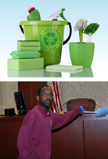top photo is of green cleaning supplies. Bottom photo is a man cleaning the courthouse.