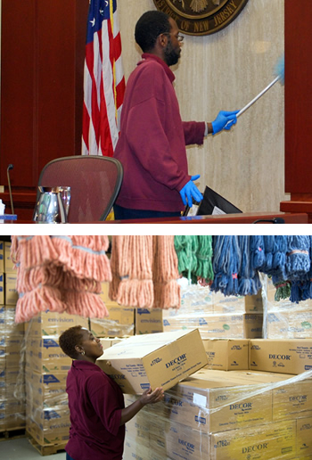 Two photos of consumers cleaning: The top photo is a man cleaning the courthouse. The bottom photo is a woman stacking boxes.