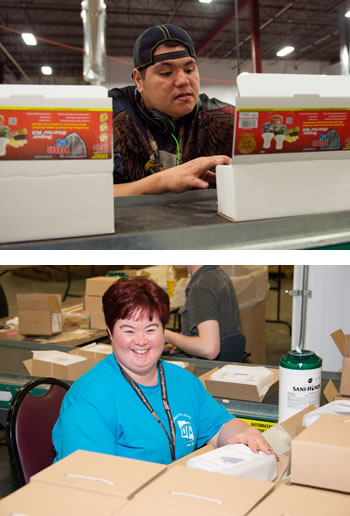 Two photos of our consumers in the benchwork area. The top, a man packages motor oils, and the bottom a woman is packaging many boxes.