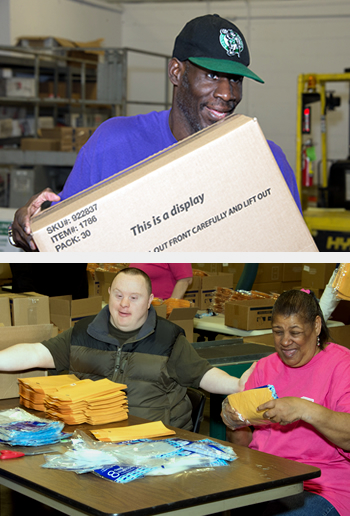 Two photos of our consumers; The top, a man carrying a box. The bottom two consumers working together to assembly envelopes into packaging.