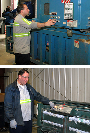 Two men operating different portions of the recycling system on the Joint Base