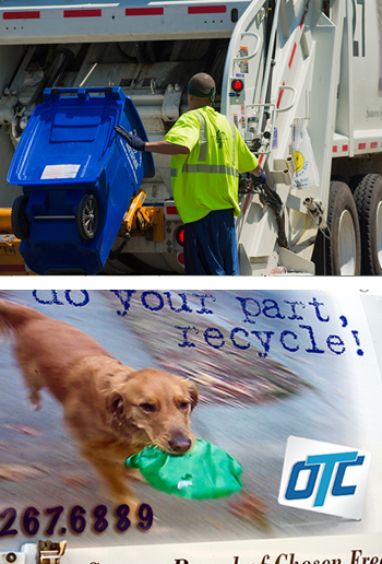 Top: A man collecting recyclables at the back of a truck. Bottom: the logo on the side of our recycling trucks.