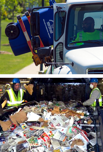 Top: a man picking up recycling in a truck. Bottom: two men sorting recyclables in our single stream system.