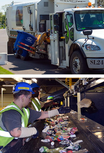 Two photos of our recycling program. One photo of the recycling truck collecting recyclables. And the lowers of two men sorting recyclables.
