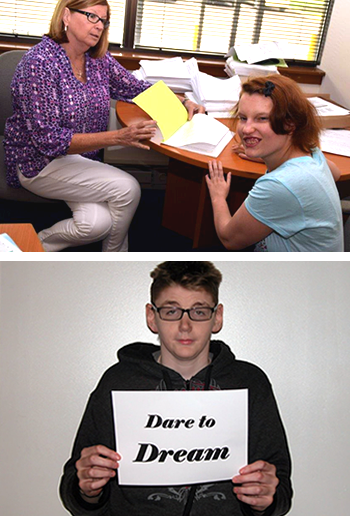 Two photos of our consumers. The first is a photos of the intake process between a counselor and a consumer. The bottom in a photo of a young man holding a sign that says dare to dream.