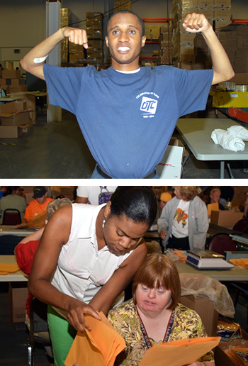 A man in our benchwork area, showing off his muscles. The bottom photos shows a vocational case manager working with a consumer in our benchwork facility.