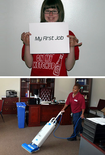A girl holding a sign saying 'my first job' and a woman vacuuming an office in Burlington, NJ