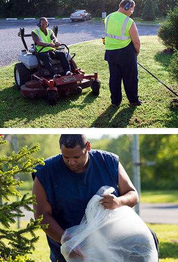 Two photos of our crew labor department. The top shows two men landscaping. And the bottom shows a man providing litter abatement.