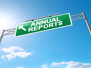 Sign that says Annual Reports